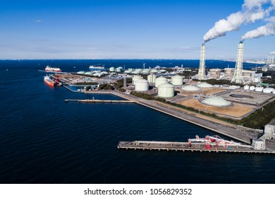 Aerial shooting of the sea and large energy facilities.