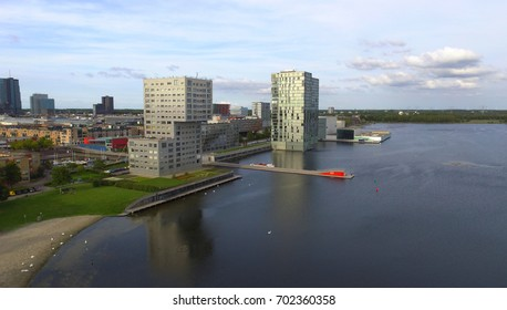 Aerial shot of the Almere Skyline
