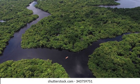 Aerial Shot of Amazon rainforest in Brazil, South America