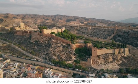 Aerial shot of ancient Alcazaba of Almeria, a fortress in southern Spain