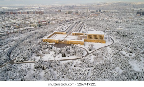 Aerial shot of Anitkabir - Mausoleum of Ataturk, Ankara Turkey winter time . Is the mausoleum of Mustafa Kemal Ataturk