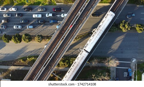 An aerial shot of the Bay Area Rapid Transit on the railways