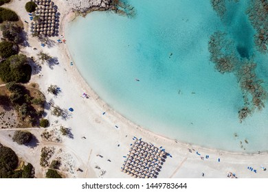 Aerial shot of beautiful turquoise beach Elafonisi Crete Greece