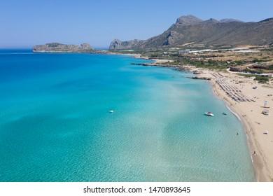 Aerial shot of beautiful turquoise beach Falasarna Falassarna Crete Greece