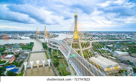 Aerial Shot : Bhumibol Bridge in Samut Prakan, Thailand