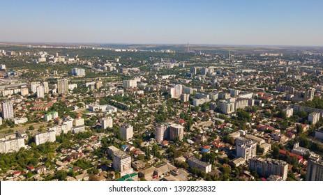 Aerial shot of botanica district of the Chisinau City. Blue sky. Chisinau, Moldova