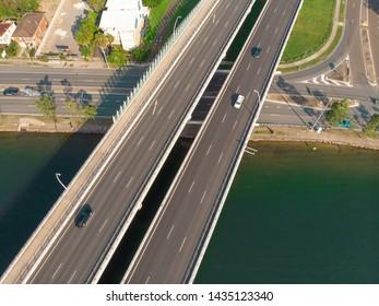 Aerial Shot Bridge Maroochy at the Sunshine Coast in Queensland, Australia