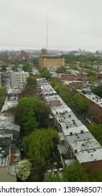 Aerial shot of the Brooklyn Tech high school in Fort Greene neighborhood of Brooklyn, New York.  May 5th, 2019.