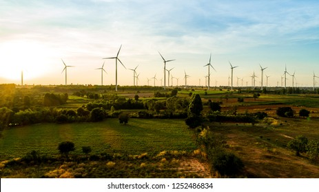 aerial shot by drone, On the Moutain wind turbine natural energy
