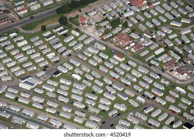 Aerial shot of a caravan/trailer park on the East coast of England near Skegness.