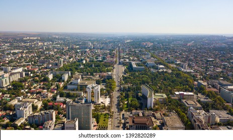 Aerial shot of centre in Chisinau City. Presidential Palace and Parliament. Chisinau, Moldova