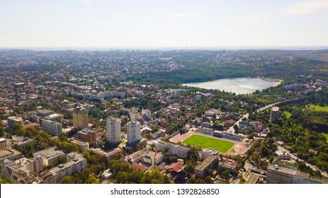 Aerial shot of Chisinau City. Blue sky with clouds. Chisinau, Moldova