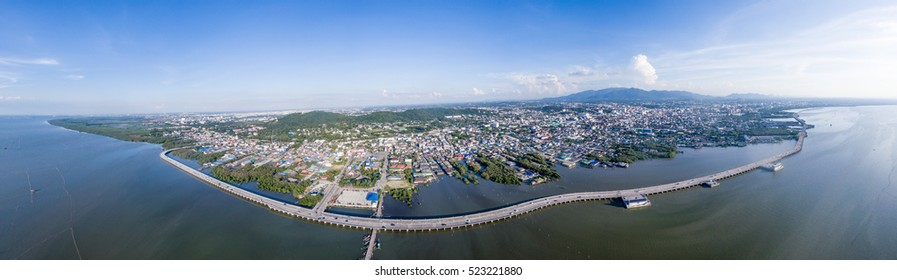Aerial shot of Chonburi city and the road along the seaside