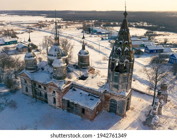 An aerial shot of the Church of the Resurrection of Christ on a sunny winter day in village Ostrov, Yaroslavl Region, Russia - Shutterstock ID 1942761349