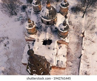 An aerial shot of The Church of the Resurrection of Christ on a sunny winter day in village Ostrov, Yaroslavl Region, Russia - Shutterstock ID 1942761445