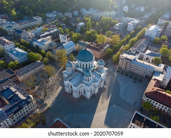 An aerial shot of the Church of St  Michael the Archangel in Kaunas, Lithuania