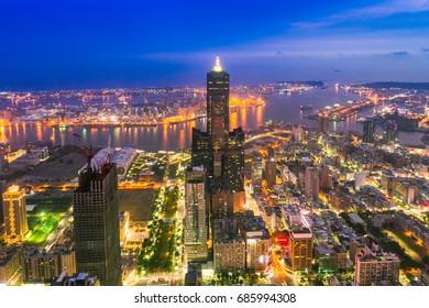 Aerial shot of city Kaohsiung at night, Taiwan