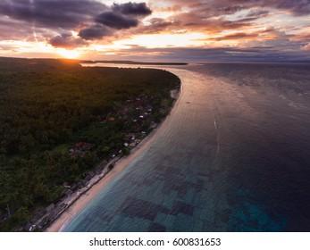 Aerial shot of the coast of the island of Nusa Penida at sunset, Bali, Indonesia