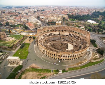 Aerial shot of the Colosseum in Rome, Italy