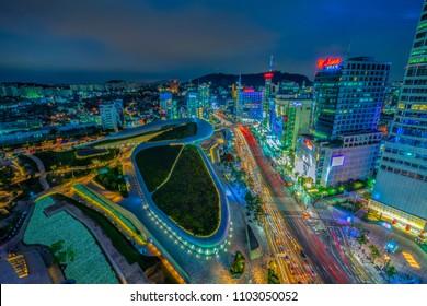 Aerial shot of the Dongdaemun Design Plaza (DDP) at night, Seoul,South Korea. August 30-2017