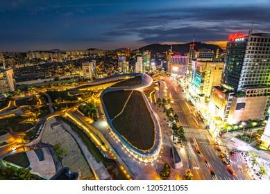 Aerial shot of the Dongdaemun Design Plaza (DDP) at night, Seoul,South Korea 2018-September-21
