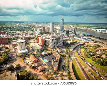 Aerial shot of downtown Mobile, AL.