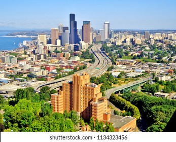 Aerial Shot of Downtown Seattle, Puget Sound, and Interstate 5 Freeway (Summer) - Seattle, Washington, USA