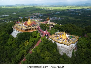 Aerial shot from the drone on the Mandalay Hill Temple.Hill that is located to the northeast of the city centre of Mandalay in Burma