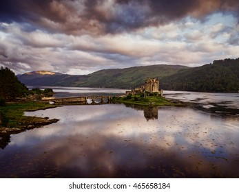 Aerial shot of Eilean Donan Castle in Dornie in the Highlands of Scotland.