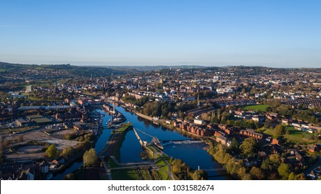 Aerial shot of Exeter, City in South West England