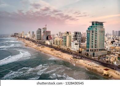 Aerial shot of famous beach line at Tel Aviv, Israel.