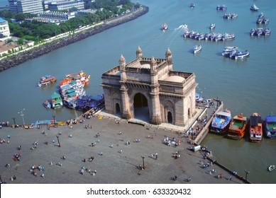 Aerial shot of famous monument of Mumbai - Gateway of India