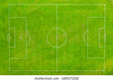 Aerial shot Football pitch looking directly down over it in a birdseye view in December 2019