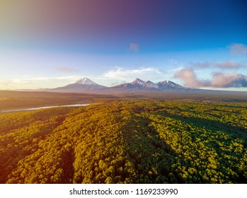 Aerial shot of forest and volcanoes at golden hour