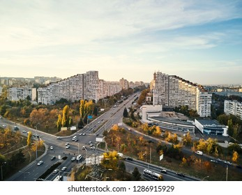 Aerial shot of Gates of the City at sunset. Blue sky with clouds. Chisinau, Moldova