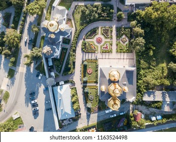Aerial shot of the golden domes of Church
