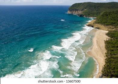 Aerial shot of Grande Anse beach, St Lucia