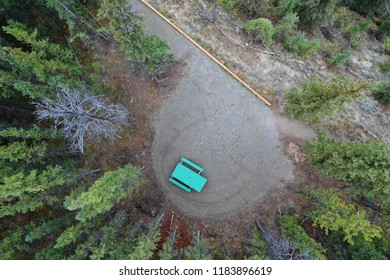 Aerial shot of a green Canadian Campground Bench standing secluded between trees at the Wolf Creek Campground in the Yukon.