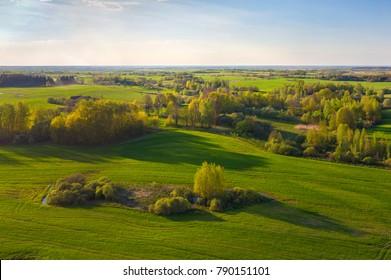 Aerial shot of green spring fields (Belarus)