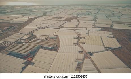 Aerial shot of greenhouse farms near Almeria, Spain