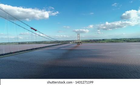 Aerial shot of Humber Bridge in Hull in June 2019.