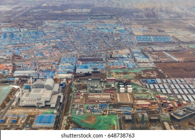 Aerial shot of an industrial zone in China