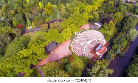 Aerial shot of Kelvingrove Park Bandstand in Glasgow, Scotland.
