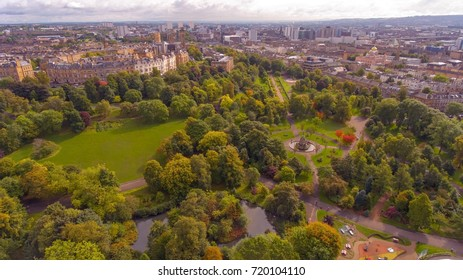 Aerial shot of Kelvingrove Park in Glasgow, Scotland.