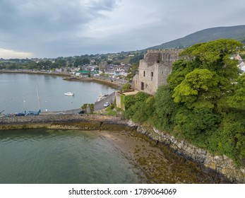 Aerial shot of King John's castle in Carlinford. Co. Louth, Ireland. July 2020