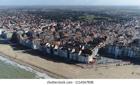 Aerial shot Knokke-Heist city in Belgian province of West Flanders it is located along North Sea on the Belgian border with the Netherlands and is Belgiums best-known and most affluent seaside resort