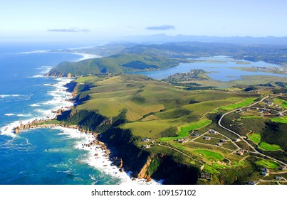 Aerial shot of The Knysna Heads - Western Cape, South Africa