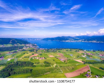 Aerial shot of the lake Attersee in the Austrian Salzkammergut
