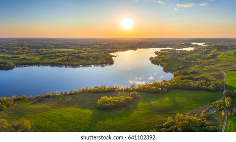 Aerial shot of the lake Douhae (Belarus)