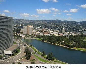 Aerial shot of Lake Merritt, Oakland, California